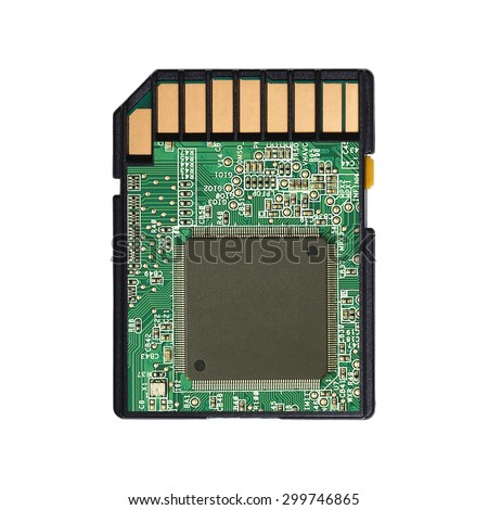 It is Micro SD card with circuit isolated on white.