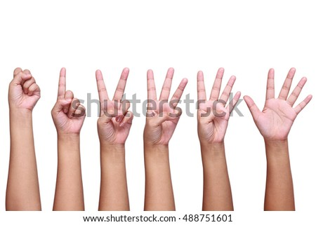 it is set of lady hand signs isolated on white.