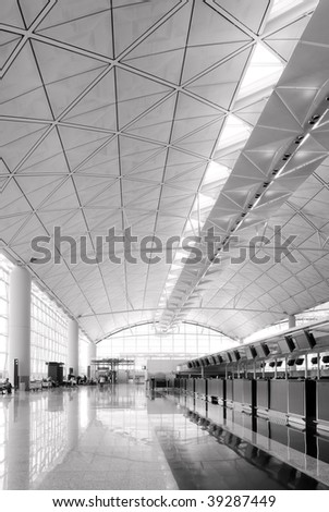 It is the hall of Hong Kong International  Airport.