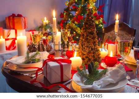 It is time for Christmas dinner - stock photo