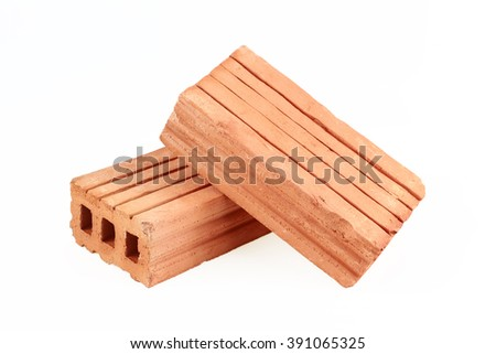 It is Two bricks for construction isolated on white. - stock photo