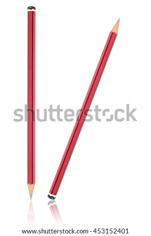 it is two pencils with reflection isolated on white. - stock photo