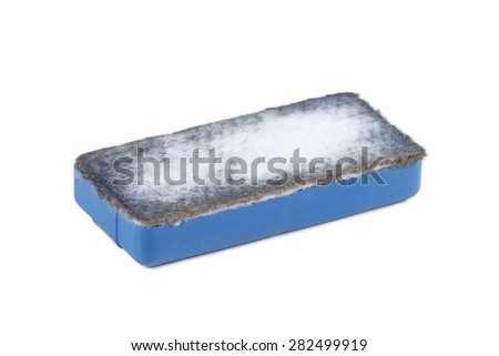 It is Used blue eraser isolated on white. - stock photo
