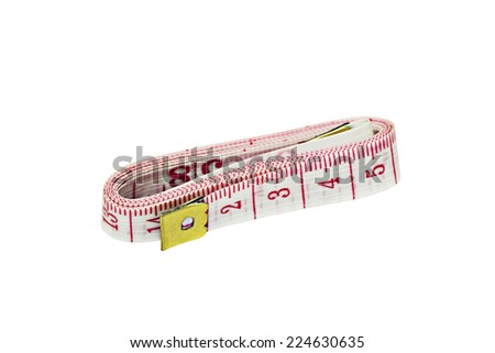 It is White tape measure with red line isolated on white background. - stock photo