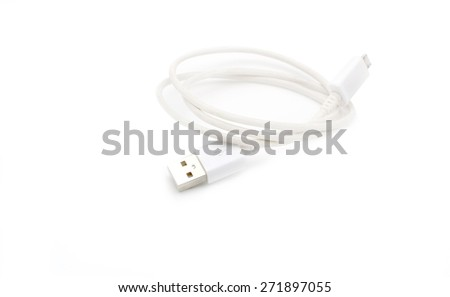 It is White USB cable isolated on white. - stock photo