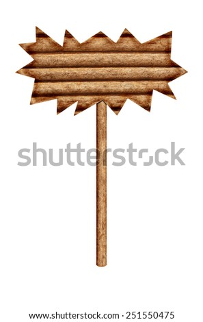 It is Wooden sign isolated on white.