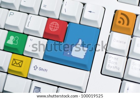 IT Keyboard with social media icon sign and symbol of computer button. Internet network take an important role in all aspect of life such as work, social, and relationship. - stock photo