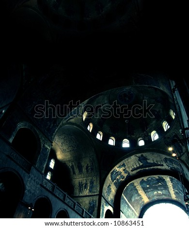 it look like an old temple, but it's : St Mark s Basilica Venice Italy - stock photo