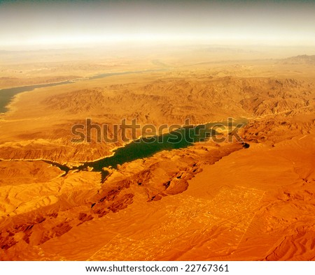 It looks like another planet. Hot dry desert and a filter. - stock photo