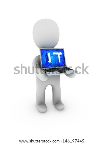 IT on screen laptop - stock photo