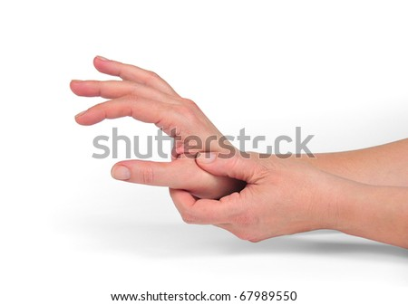 it photographs of two hands applying pressure in the base of the thumb - stock photo