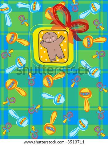 it's a baby BOY! baby boy in dark skin tone (raster) - illustration - stock photo