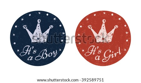 It's a boy and It's a girl labels for banner, scrapbook, greeting, postcard, invitation, emblem etc. Baby announcement cards. Raster copy of vector file. - stock photo