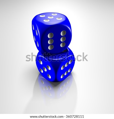 It's a 3D render of 2 Blue Dice with high resolution. - stock photo