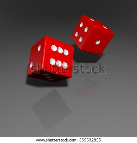 It's a 3D render of 2 Rolling Red Dice with high resolution.