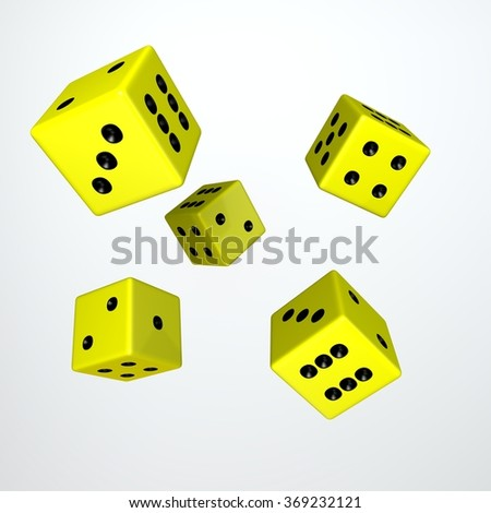 It's a 3D render of 5 Rolling Yellow Dice with high resolution.