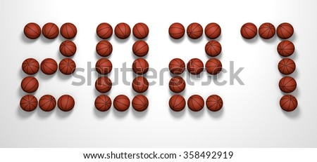 It's a 3D render of 2027 Year from Basketball Balls on white background with high resolution.