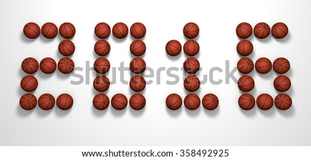 It's a 3D render of 2016 Year from Basketball Balls on white background with high resolution.