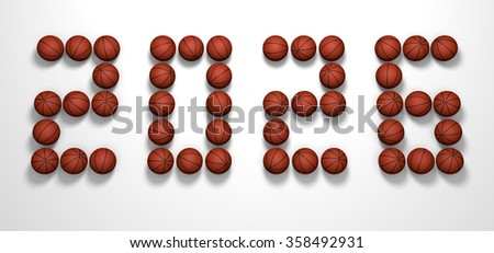 It's a 3D render of 2026 Year from Basketball Balls on white background with high resolution.
