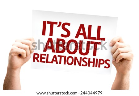 It's All About Relationships card isolated on white background - stock photo
