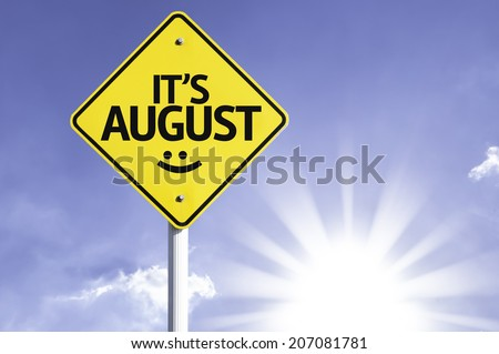 It's August road sign with sun background  - stock photo