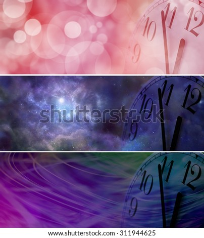 It's Nearly New Year - Three different wide banners each with a partial clock face showing five minutes to midnight on right side with copy space on left - stock photo