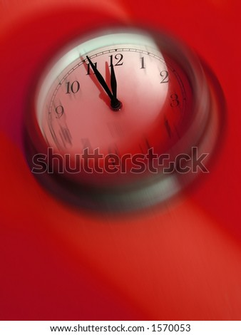 It's time! Blurred clock about to strike midnight