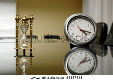 it's time for business, business concept , sand and classic clock in the empty board room