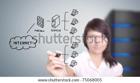 IT worker drawing computer network on digital screen. - stock photo