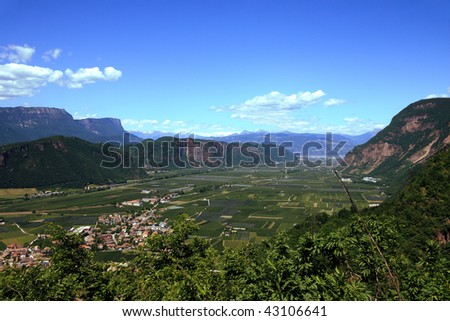 Italian alp valley near Bolzano photographed from above