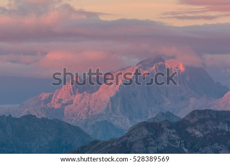 Italian Alps at sunrise, South Tyrol, Dolomites, Italy