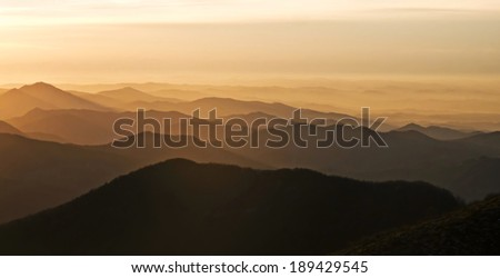Italian Alps at sunset, Piedmont, Italy - stock photo