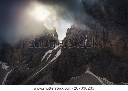 Italian Alps, beautiful and famous Dolomite in Spring./Dolomites Italy/ - stock photo