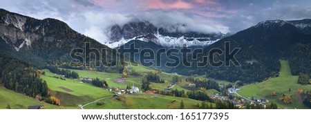Italian Alps. Beautiful St. Magdalena village in a gorgeous valley located in Italian Alps.