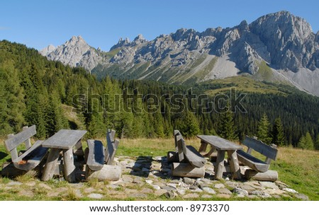 Italian Alps: Rest Stop along an hiking trail - stock photo