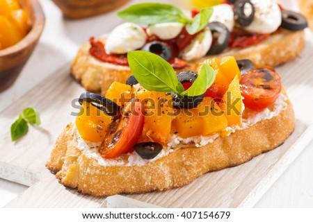 italian appetizer - bruschetta, closeup, horizontal - stock photo