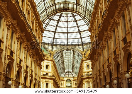 Italian architecture concept. Heart of italian fashion industry. Vittorio Emanuele II Gallery in Milan.