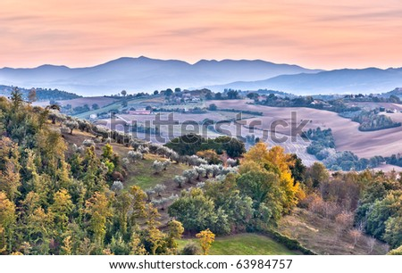 Italian Autumn evening landscape - stock photo