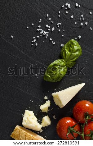 Italian background on black stone - stock photo