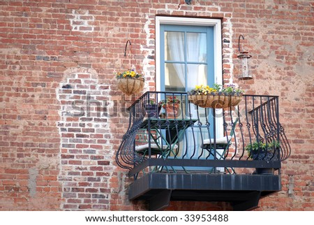 Italian Balcony in Venice (Copy space to the left) - stock photo