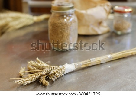 Italian base ingredients needed to prepare bread on a food staple. - stock photo