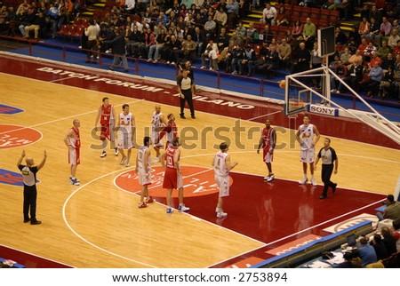 Italian basketball game, Milan vs Varese, 02-18-2007 - stock photo