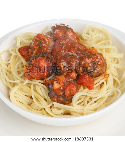 Italian beef meatballs with spaghetti - stock photo
