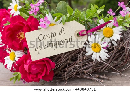Italian birthday card with summer flowers and the text Congratulations on your birthday / congratulations on your birthday / Italian