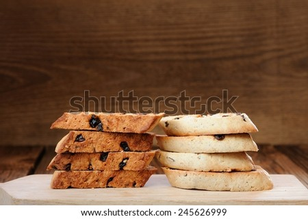 Italian biscotti in two piles with space - stock photo