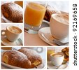 Italian breakfast - collage - stock photo