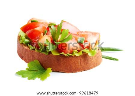 Italian Bruschette  isolated on a white background - stock photo