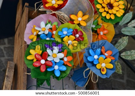 italian bunches of candy flowers