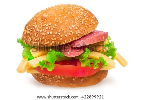 Italian burger with pepperoni, cheese and tomato. Isolated on white background. Sandwich with sausage, cheese and vegetables.