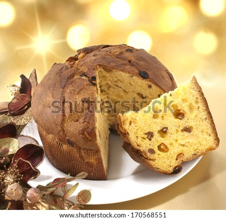 italian cake named Panettone, typical christmas cake  - stock photo